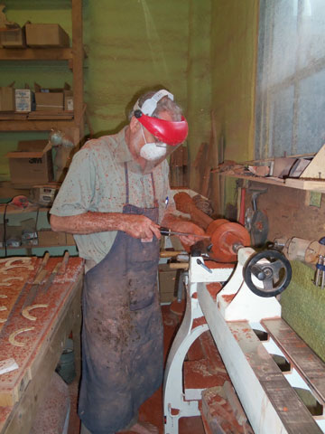 Alex working on a Roma Rosa Harp