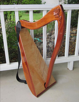 Small rose on a 26-LAP Harp